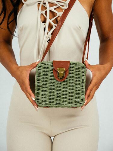 style Ψάθινη τσάντα τετράγωνη χακί με δερμάτινες λεπτομέρειες - Glami.gr afce009bda5
