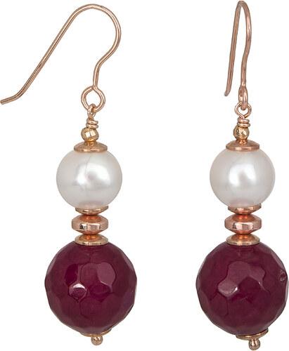 Ροζ επίχρυσα σκουλαρίκια 925 μαργαριτάρι   αχάτη 027227 027227 Ασήμι ... eb8ba61a139