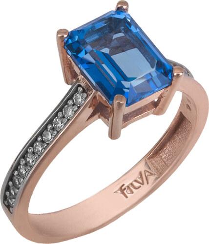 Ροζ gold δαχτυλίδι swarovski Κ14 με μπλε topaz 025738 025738 Χρυσός 14  Καράτια 0611686e19f