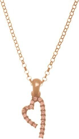 Paraxenies Κολιέ καρδιά από ρόζ επιχρυσωμένο ασήμι 925 με πέτρες Swarovski 848af04a59f