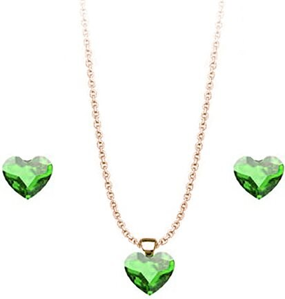 Paraxenies Σέτ κολιέ και σκουλαρίκια συλλογή Love καρδιές από ρόζ  επιχρυσωμένο ασήμι με πέτρες Swarovski a792951a1fa