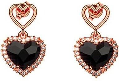 Paraxenies Σκουλαρίκια συλλογή Love καρδιά από ρόζ επιχρυσωμένο ασήμι με πέτρες  Swarovski ed8ddd0b28f