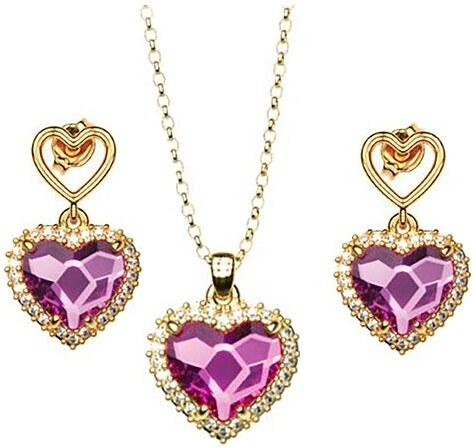 Paraxenies Σέτ κολιέ και σκουλαρίκια συλλογή Love καρδιές από επιχρυσωμένο  ασήμι με πέτρες Swarovski c7baff196d3