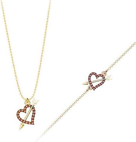 Paraxenies Σέτ κοσμημάτων βραχιόλι και κολιέ συλλογή Love καρδιά με βέλος  από επιχρυσωμένο ασήμι με πέτρα Swarovski 0fa6545b22e