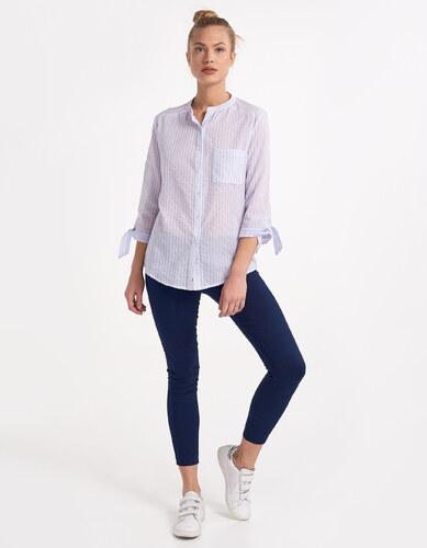 Issue Fashion Πουκάμισο με ρίγες χωρίς γιακά - Glami.gr dca05c95041