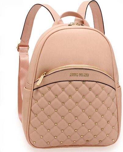 Anna Grace 23163L-4 Backpack με χρυσό φερμουάρ Ροζ - Glami.gr 6bbe3785023
