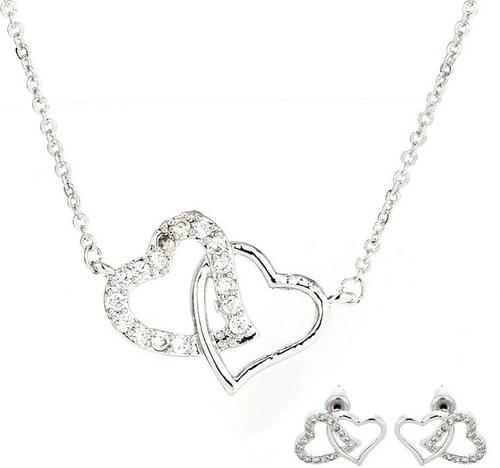 Anna Grace 1437 LS Σετ κολιέ και σκουλαρίκια ενωμένες καρδιές - Ασημί 4dc0ca467d8