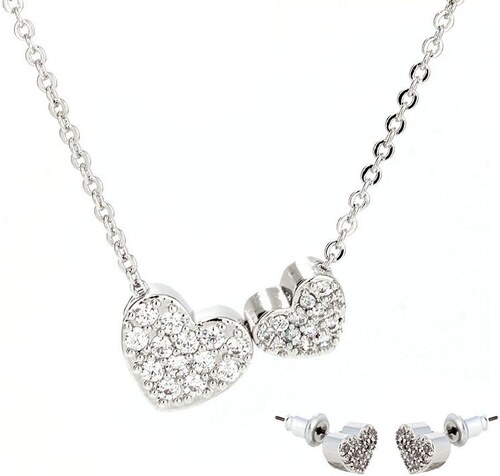 Anna Grace 1439 LS Σετ κολιέ και σκουλαρίκια δυο καρδιές με στράς - Ασημί 6238b7490c6