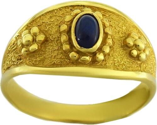 Watchmarket.gr Δαχτυλίδι χρυσό 14 καράτια βυζαντινό με μπλε ζιργκόν ... 29096f6a717