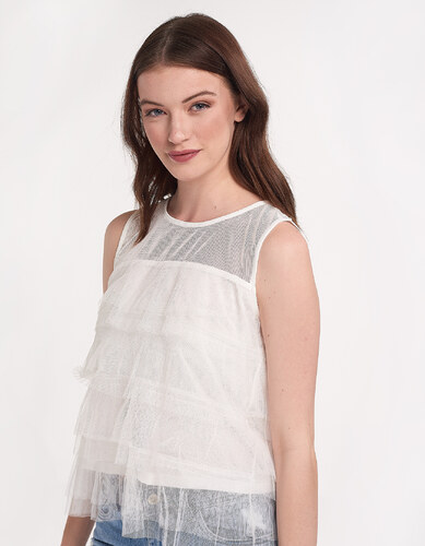 14013086342 Issue Fashion Αμάνικη μπλούζα με τούλι - Glami.gr