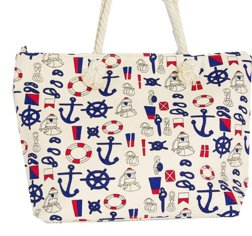 -16% Huxley   Grace Γυναικεία μπεζ τσάντα θαλάσσης τετράγωνη με άγκυρες  3045C b795a4041b9