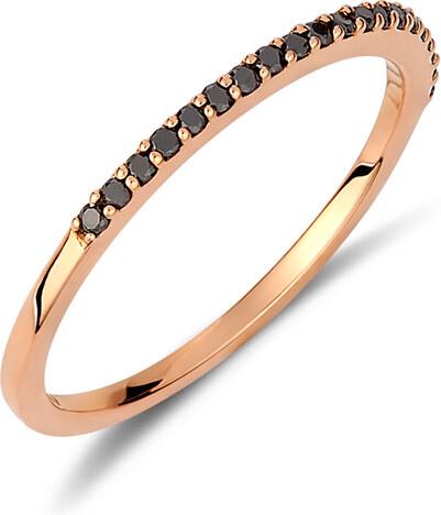Haritidis Δαχτυλίδι μισόβερο από ροζ χρυσό 18 καρατίων με μαύρα διαμάντια.  AA15964 2d1e5ac80b9