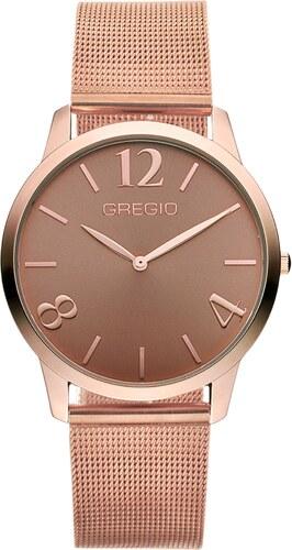 Ρολόι Gregio Simply Rose με ροζ χρυσό μπρασελέ και καφέ καντράν GR112037 934285761ee