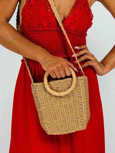 e3abece6f4 style Ψάθινη τσάντα καλάθι με στρογγυλό χερούλι και πλεξούδα καφε ...