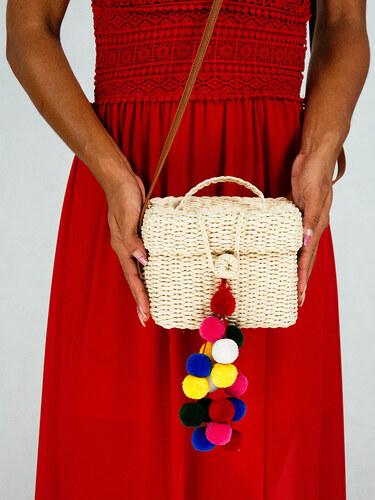 style Ψάθινη τσάντα κουτί με πολύχρωμα πομ πομ - Glami.gr f37bb1858d2