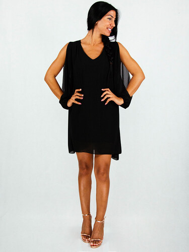 01674cce710f style Φόρεμα μαύρο σιφόν αέρινο με κόψιμο στα μανίκια - Glami.gr
