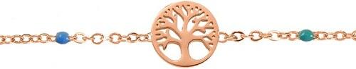 AMOR AMOR Βραχιόλι Ποδιού Από Ατσάλι Ροζ Επιχρυσωμένο Με Το Δέντρο Της Ζωής  MI27807 a4a9e323e53