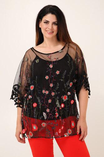 e711aa1eb099 Dina XL Μπλούζα από τούλι φλοράλ - Glami.gr