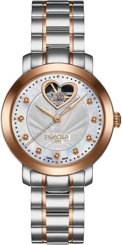 Αυτόματο ρολόι Roamer Sweetheart με ασημί ροζ χρυσό μπρασελέ R556661461950 584b65475a0