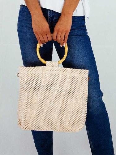style Τσάντα πλεκτή μπεζ με μπαμπού δαχτυλίδι χειρολαβή - Glami.gr a3cbbd8373a