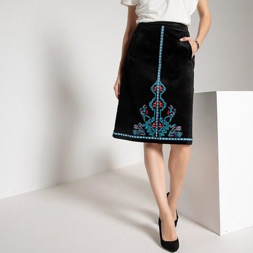 ANNE WEYBURN Βελούδινη εβαζέ φούστα με κέντημα - Glami.gr 57437b2e4dc