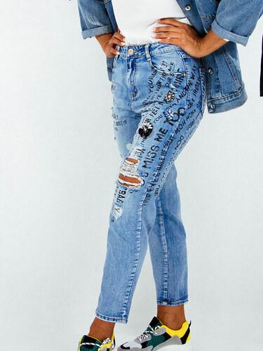 3b27780cd101 style Τζιν παντελόνι με γράμματα και κρύσταλλα - Glami.gr