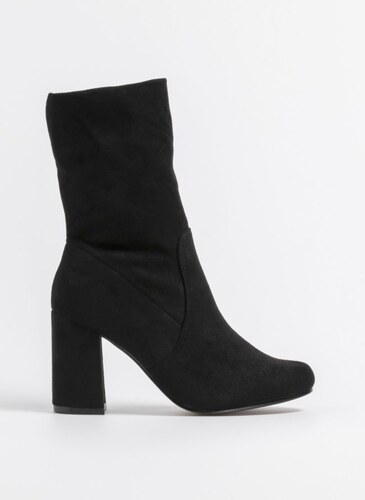 7ba43861498 The Fashion Project Suede μποτάκια με τακούνι - Μαύρο - 05369002002 ...