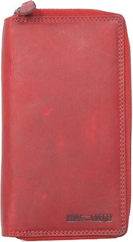 c79d0b63ef Hill Burry δερμάτινο πορτοφόλι κόκκινο με διπλό φερμουάρ - Glami.gr
