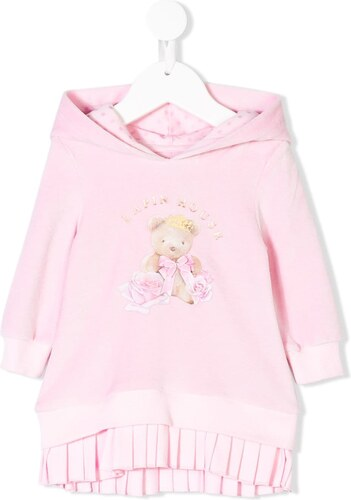 Lapin House pleated printed hoodie dress - Pink - Glami.gr 19a791f9539