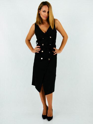 style Μαύρο φόρεμα με χρυσά κουμπιά και ζώνη - Glami.gr d6cb4a9b277