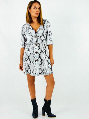style Φόρεμα κοντο ασπρόμαυρο φιδέ με κουμπιά - Glami.gr 1a3fbf6ab26