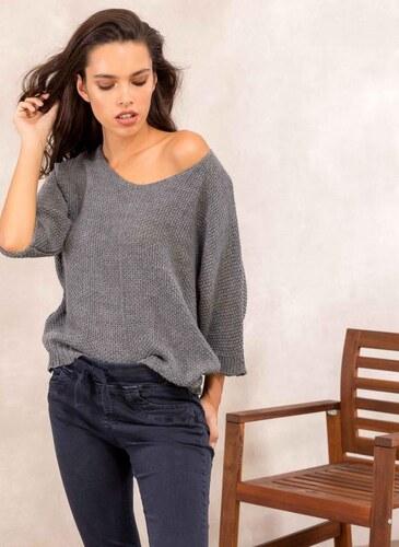 4aec1efb2a The Fashion Project Πλεκτή μπλούζα με μανίκι 3 4 - Ανθρακί - 05449039001