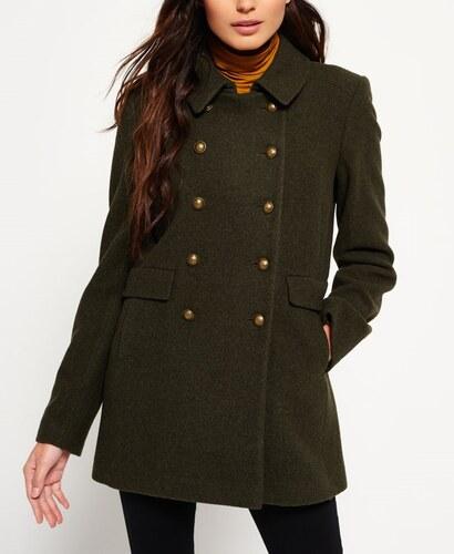 78d9c5b2b1 -36% outletshop Superdry Military Pea χακί γυναικείο παλτό με χρυσά κουμπιά  και τσέπες