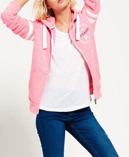 b173aaf1f17 Superdry Track & Field ροζ γυναικεία φούτερ ζακέτα με κουκούλα λευκό-μπλε  τύπωμα εμπρός και