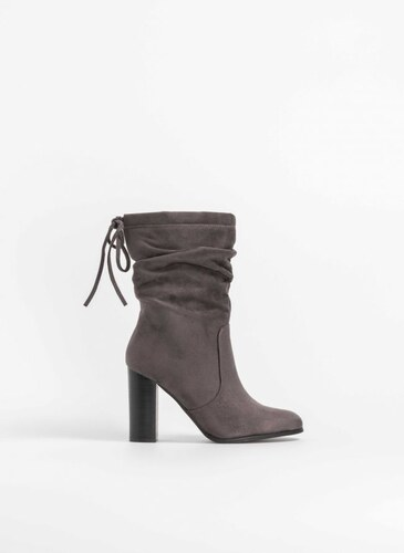 a40a5592e2d The Fashion Project Suede μποτάκια με ψηλό τακούνι - Ανθρακί - 05505039005