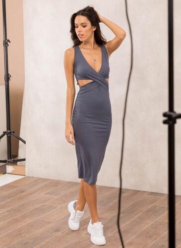 464afdc8e732 Noobass Αμάνικο midi φόρεμα με ανοίγματα - Ανθρακί - 009 - Glami.gr
