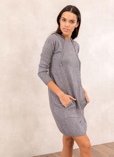 -24% The Fashion Project Πλεκτό casual φόρεμα με κουκούλα - Γκρι -  05467027009 c67d49a665b