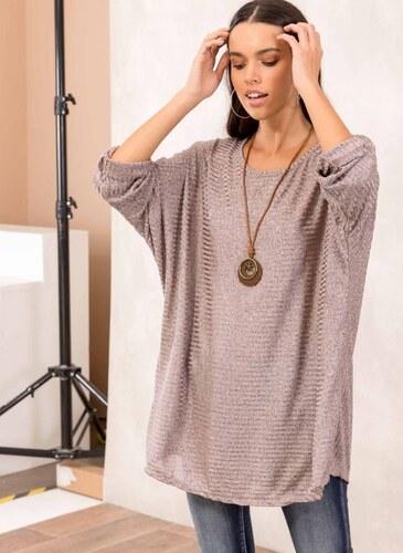 ef5952acfe9f The Fashion Project Γυαλιστερή ριπ μπλούζα με ξύλινο κολιέ - Ροζ - 001