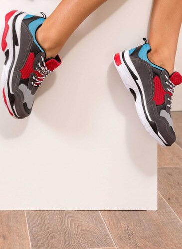 376954ef4c15 The Fashion Project Chunky sneakers με ανάγλυφα σχέδια στη σόλα - Ανθρακί -  004