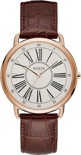 Ρολόι Guess με καφέ λουράκι και λευκό καντράν W1068L7 - Glami.gr 75b9bd11087