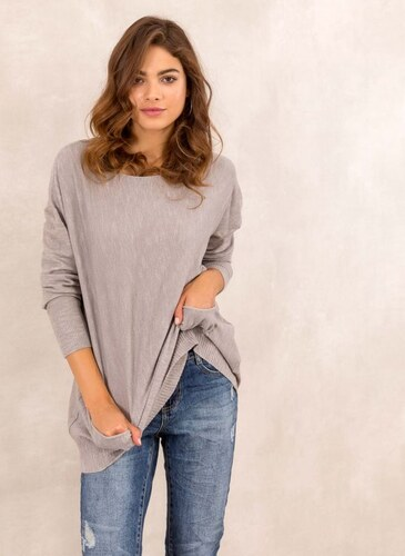 16fbeedadf The Fashion Project Oversized πλεκτή μπλούζα με τσεπάκια - Πούρο -  05473006013