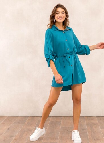 6a5f56bcece2 The Fashion Project Φόρεμα πουκάμισο με σχοίνινο ζωνάκι - Petrol -  05543047001