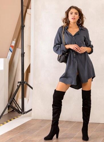 0cf13dee72cf The Fashion Project Φόρεμα πουκάμισο με σχοίνινο ζωνάκι - Ανθρακί - 001