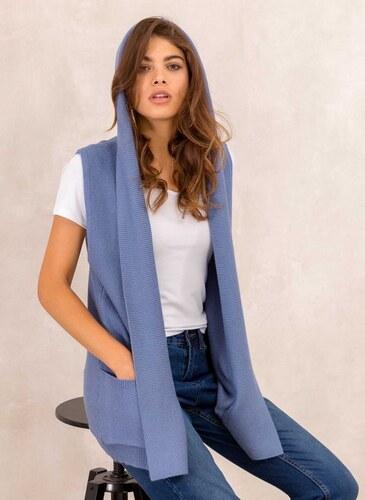 1538c4786d5e The Fashion Project Oversized πλεκτό γιλέκο με κουκούλα - Μπλε jean - 013