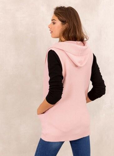7110d381288a The Fashion Project Oversized πλεκτό γιλέκο με κουκούλα - Ροζ - 009 ...