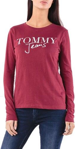 TOMMY HILFIGER SCRIPT LOGO LONGSLEEVE T-SHIRT ΓΥΝΑΙΚΕΙΟ TOMMY HILFIGER  ΜΠΟΡΝΤΩ (DW0DW05276-610 99d96bf7770