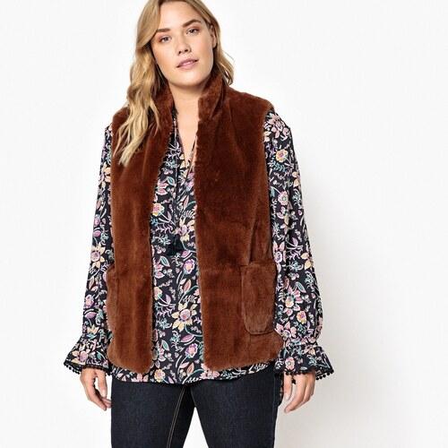CASTALUNA Αμάνικο παλτό με συνθετική γούνα για μεγάλα μεγέθη - Glami.gr 3405e222463