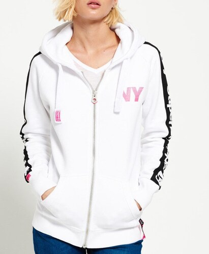 19c160170689 Superdry Sport Code Raglan λευκή γυναικεία ζακέτα με μαύρη λωρίδα στα  μανίκια και λευκό-ροζ