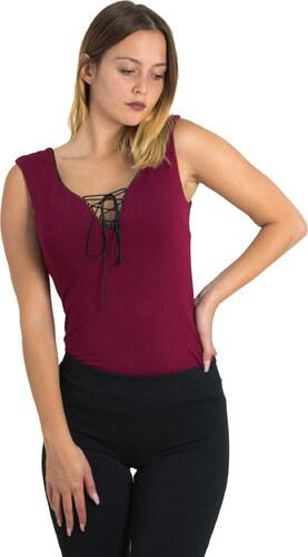 Γυναικεία αμάνικη μπλούζα Benissimo μπορντό χιαστί 31725G - Glami.gr b118adb1031