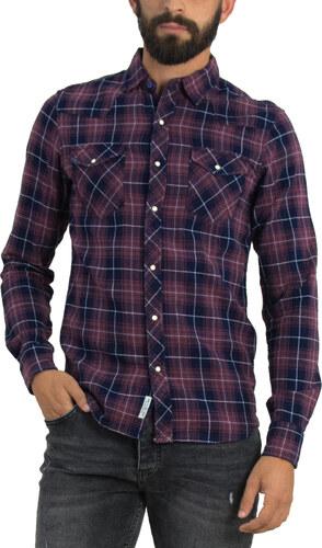 -30% Bread and Buttons Ανδρικό κόκκινο καρό πουκάμισο μακρυμάνικο γιακάς  54055Q 9ab31cf77e6